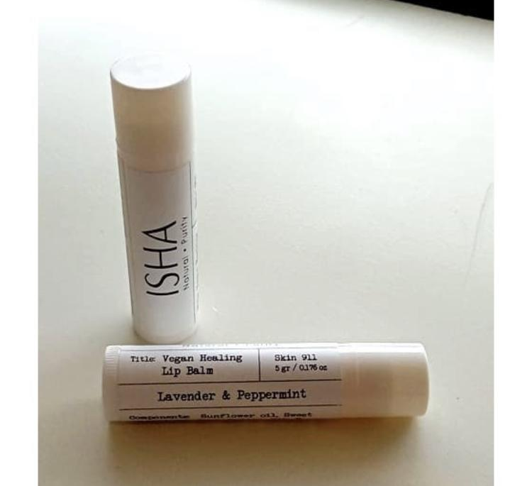 Веганский бальзам для губ ISHA Natural Vegan Healing Lip Balm Lavender & peppermint 5 gr. арт. 4160